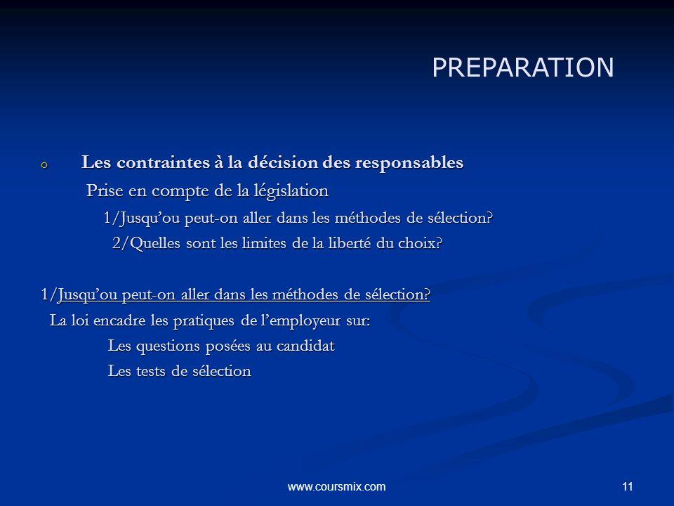 PREPARATION Les contraintes à la décision des responsables
