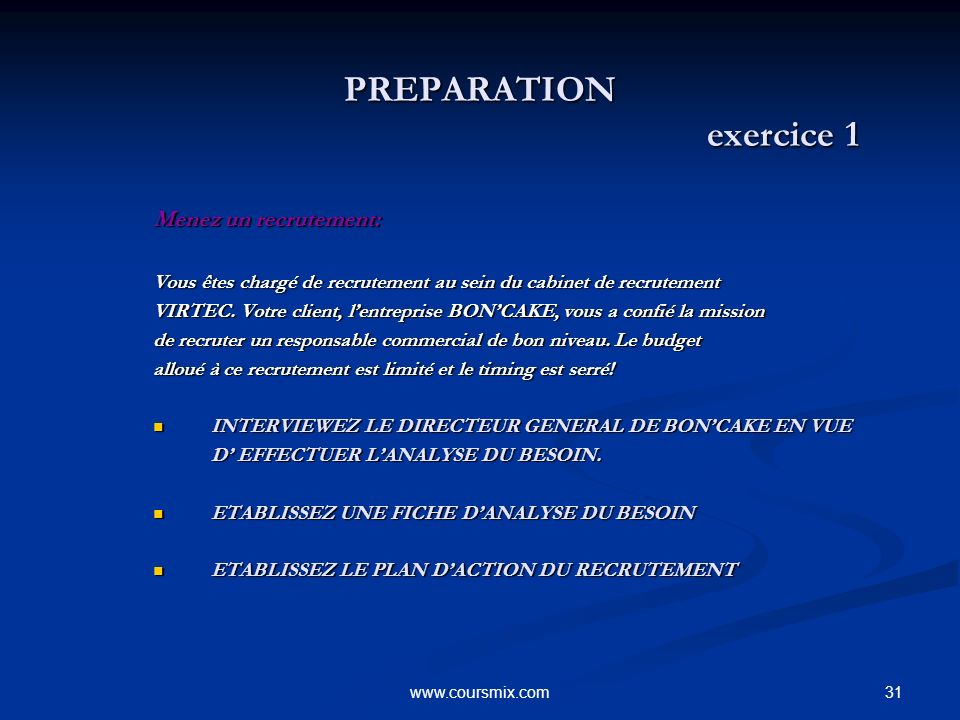 PREPARATION exercice 1 Menez un recrutement: