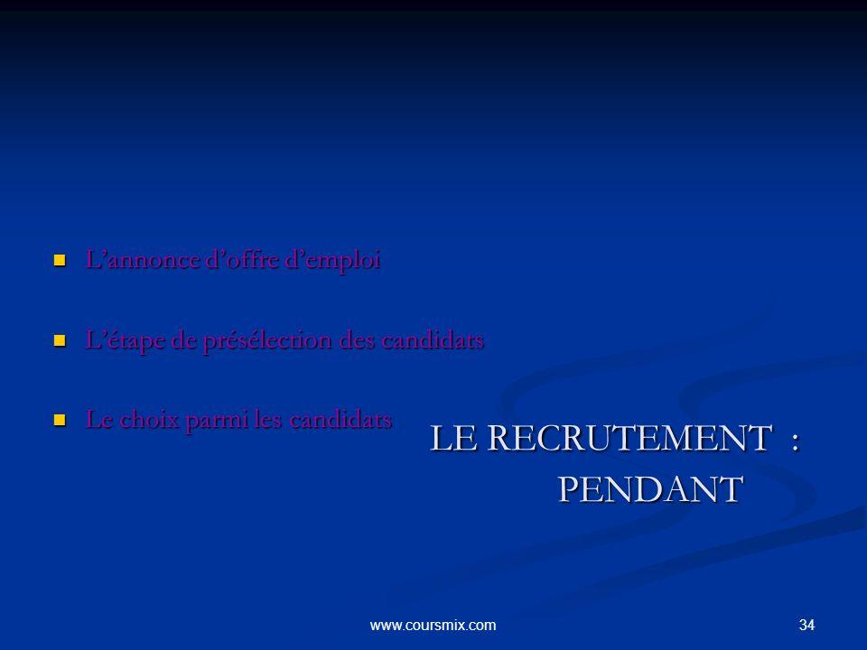 LE RECRUTEMENT : PENDANT