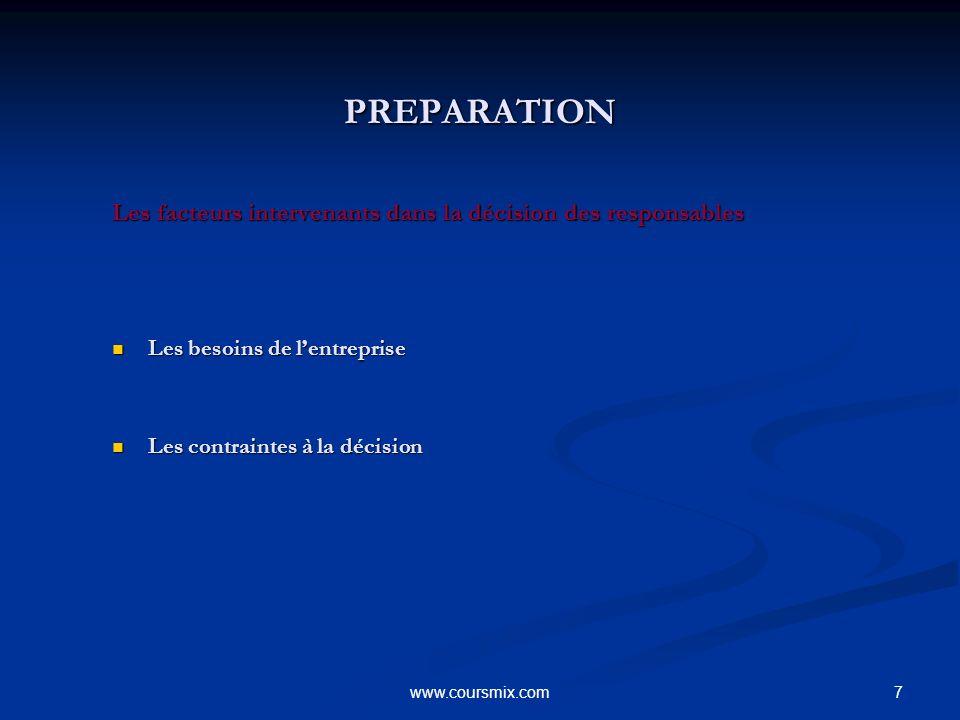 PREPARATION Les facteurs intervenants dans la décision des responsables. Les besoins de l'entreprise.