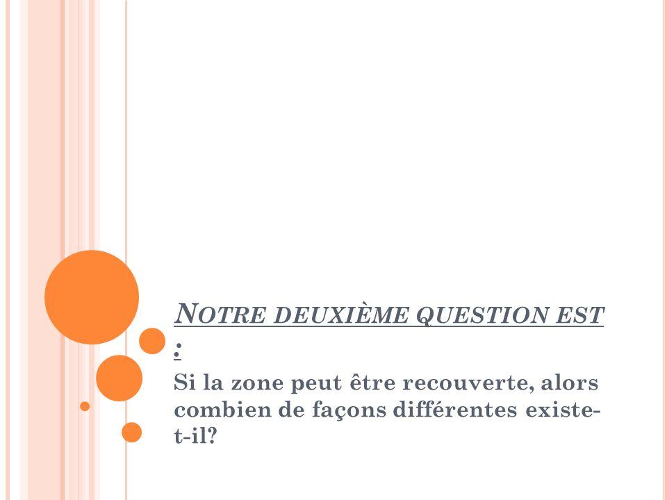 Notre deuxième question est :