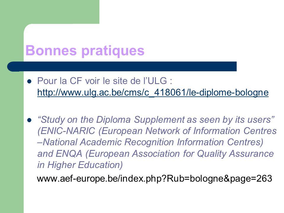 Bonnes pratiques Pour la CF voir le site de l'ULG : http://www.ulg.ac.be/cms/c_418061/le-diplome-bologne.
