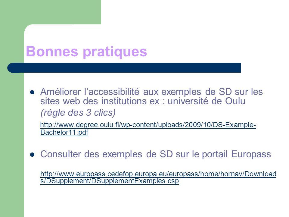 Bonnes pratiques Améliorer l'accessibilité aux exemples de SD sur les sites web des institutions ex : université de Oulu.