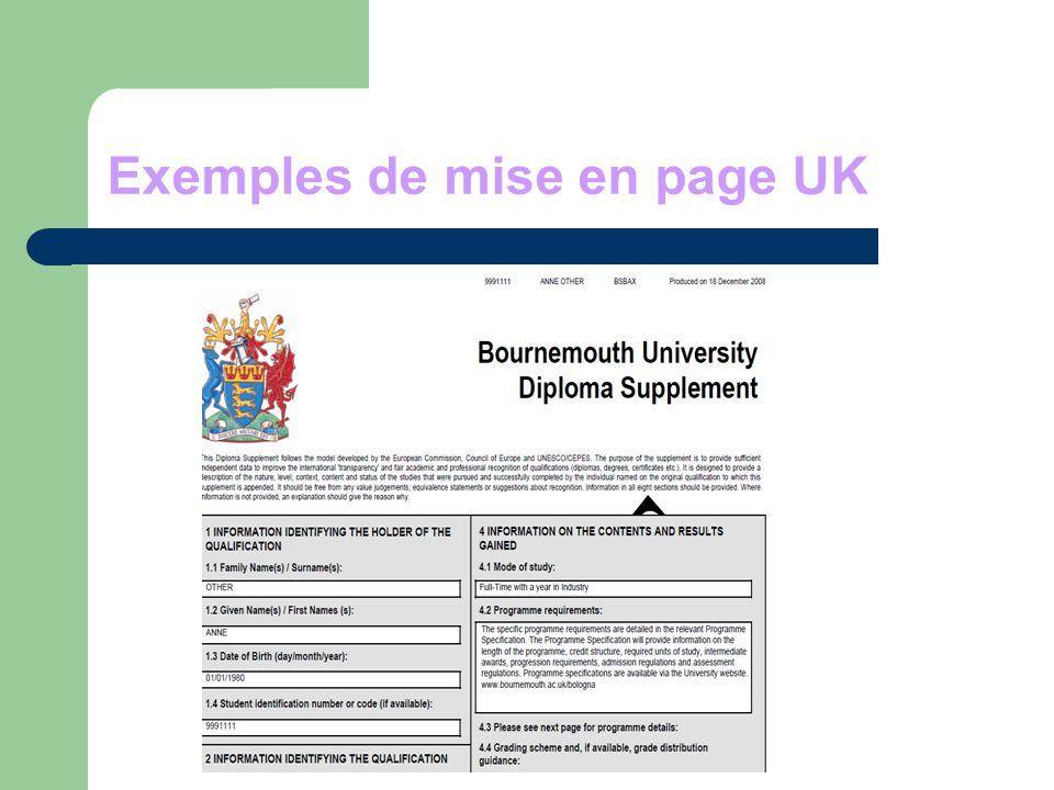Exemples de mise en page UK