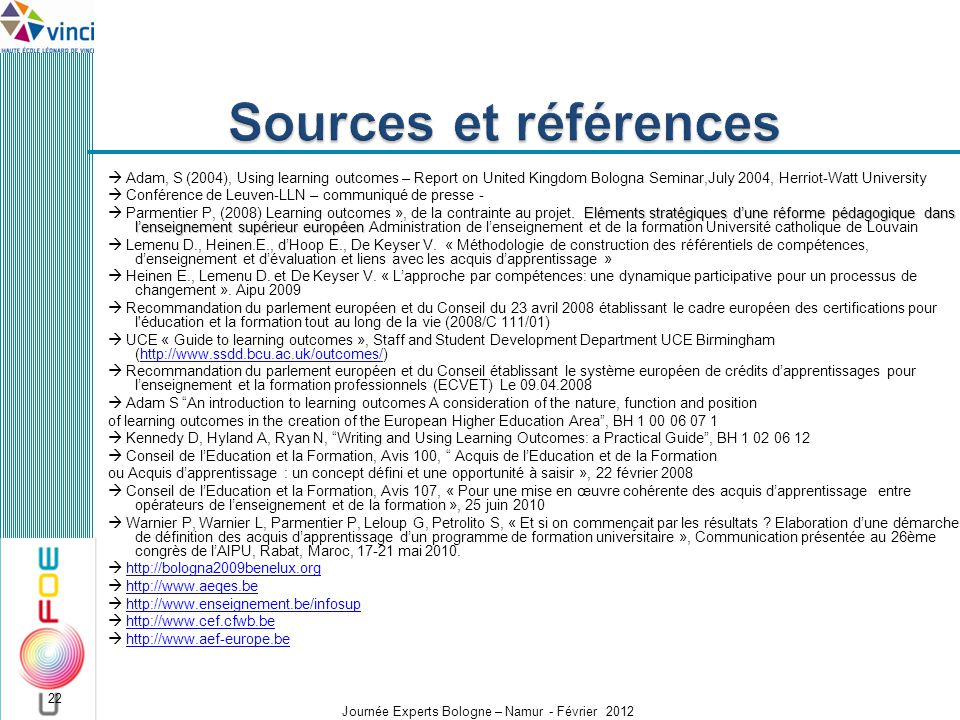 Sources et références  Adam, S (2004), Using learning outcomes – Report on United Kingdom Bologna Seminar,July 2004, Herriot-Watt University.