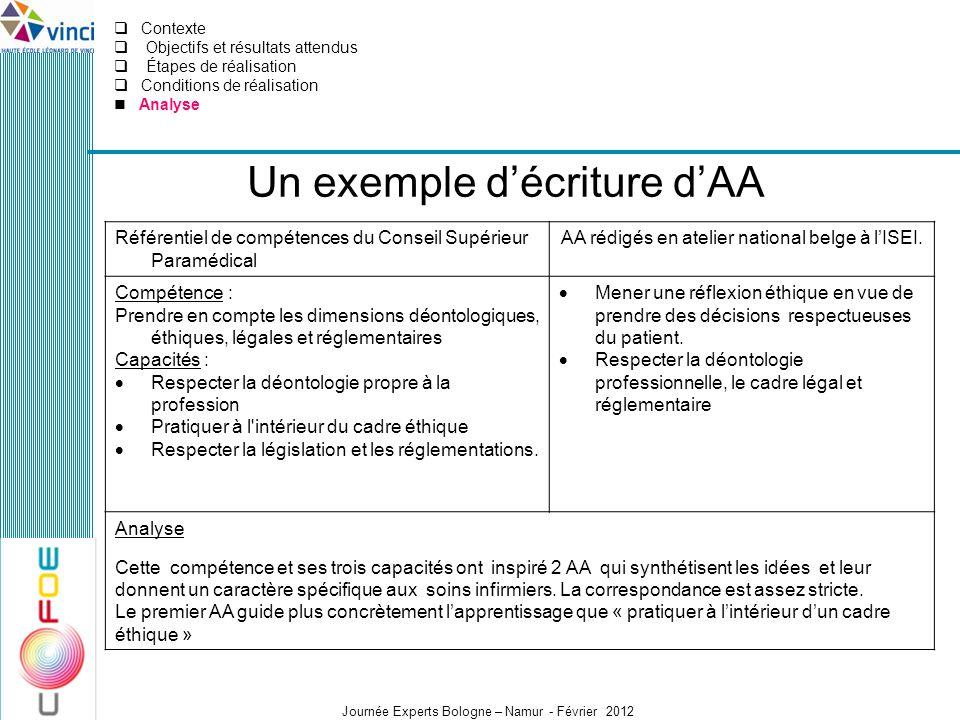 Un exemple d'écriture d'AA