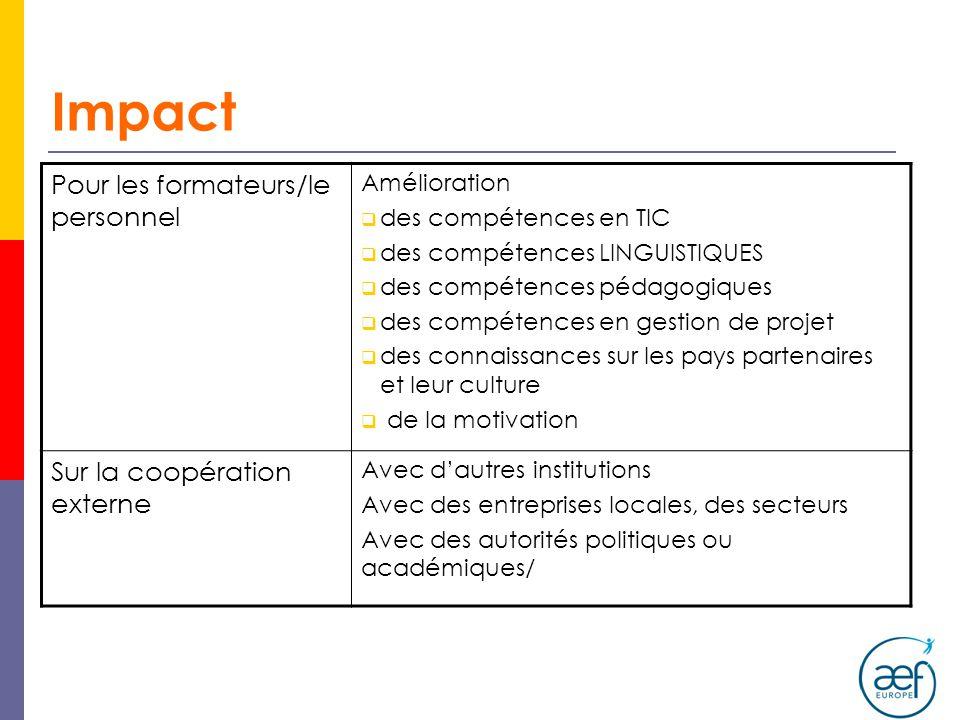 Impact Pour les formateurs/le personnel Sur la coopération externe