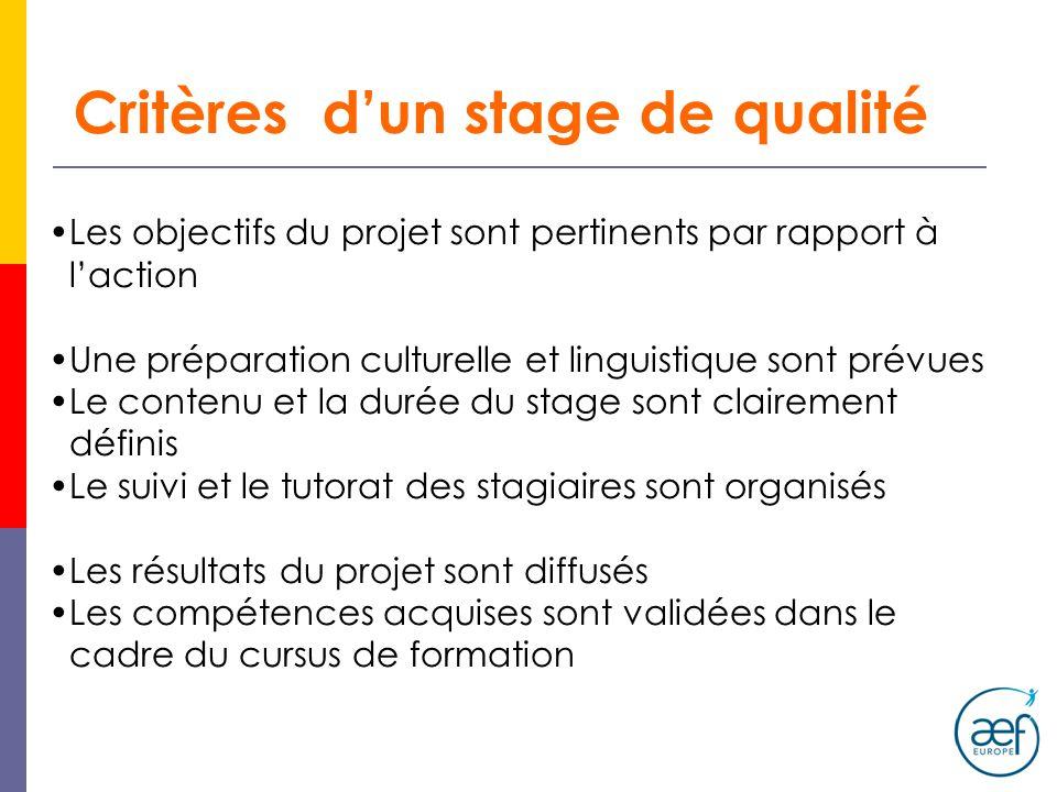 Critères d'un stage de qualité