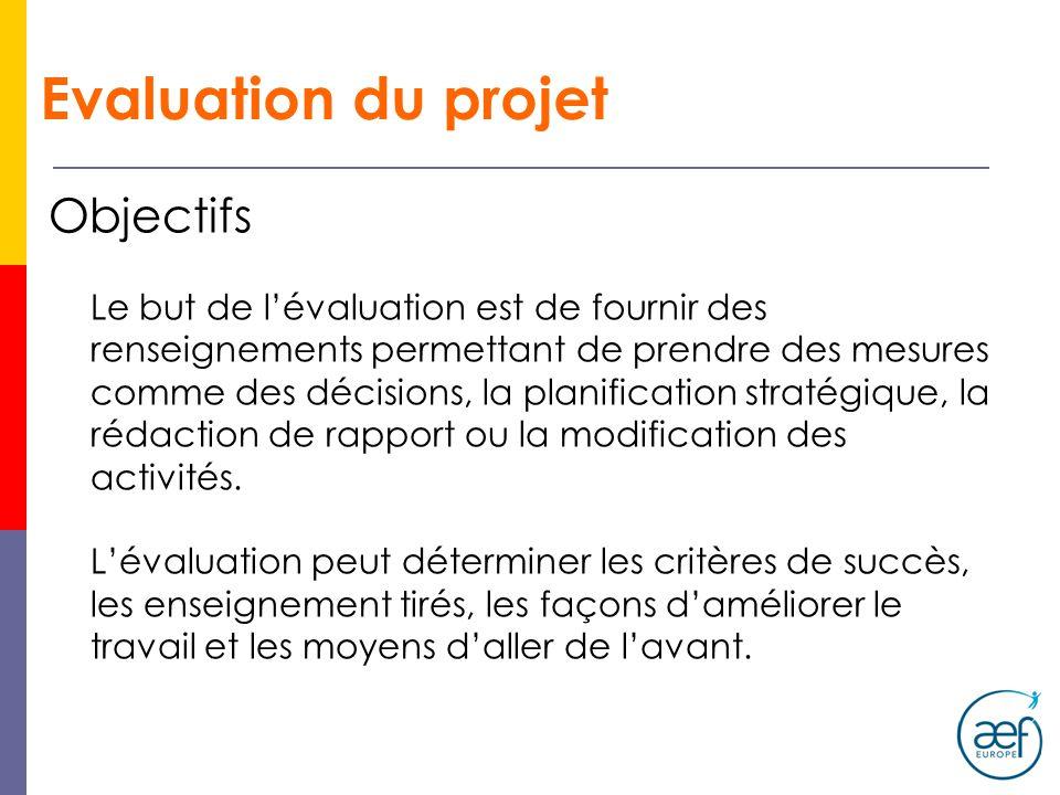 Evaluation du projet Objectifs