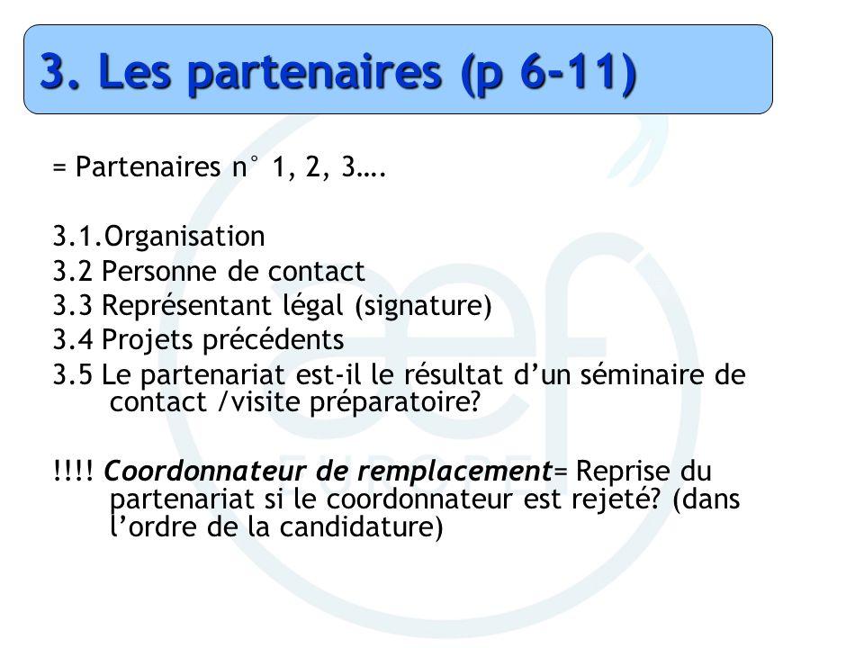 3. Les partenaires (p 6-11) = Partenaires n° 1, 2, 3….