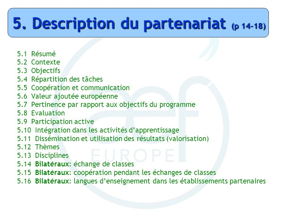 5. Description du partenariat (p 14-18)