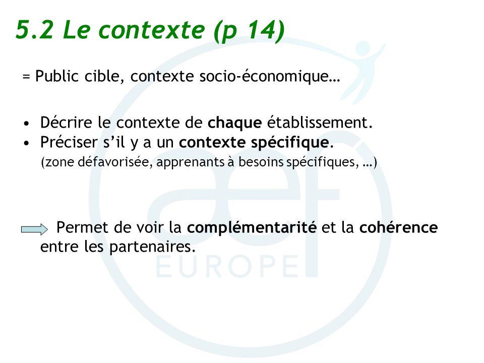 5.2 Le contexte (p 14) = Public cible, contexte socio-économique…