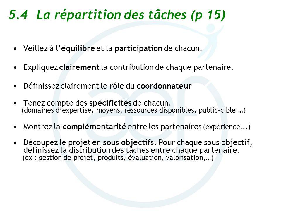 5.4 La répartition des tâches (p 15)