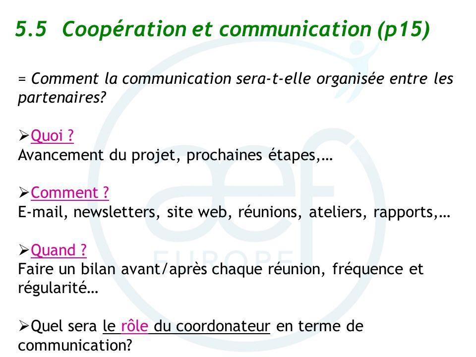 5.5 Coopération et communication (p15)