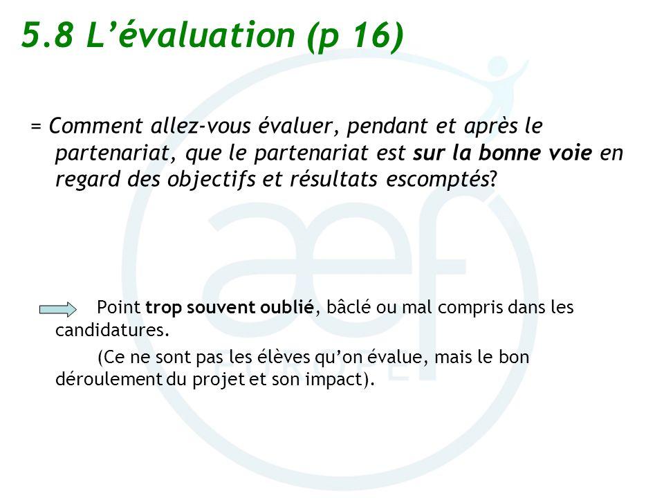 5.8 L'évaluation (p 16)