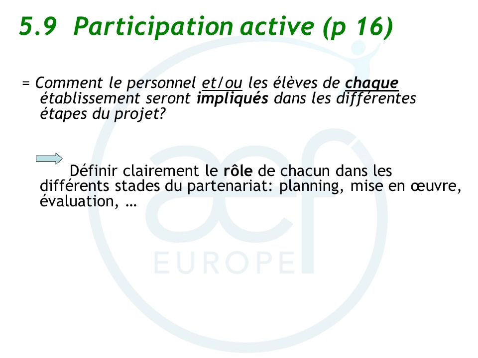 5.9 Participation active (p 16)