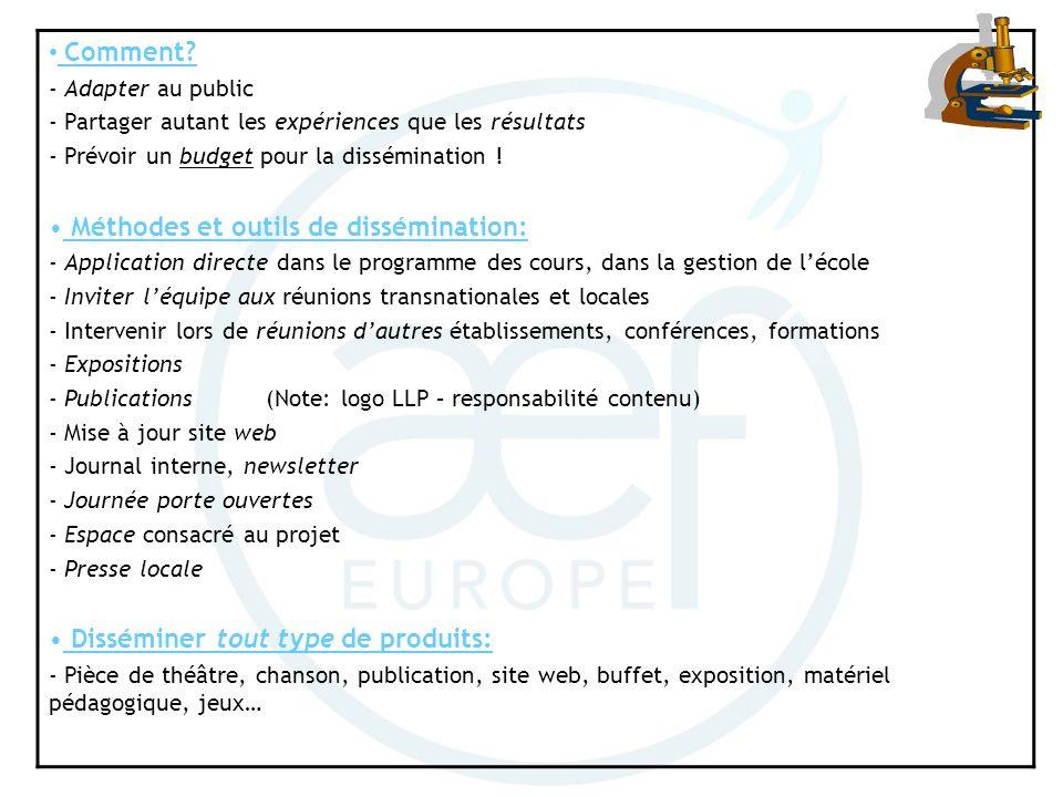 Méthodes et outils de dissémination: