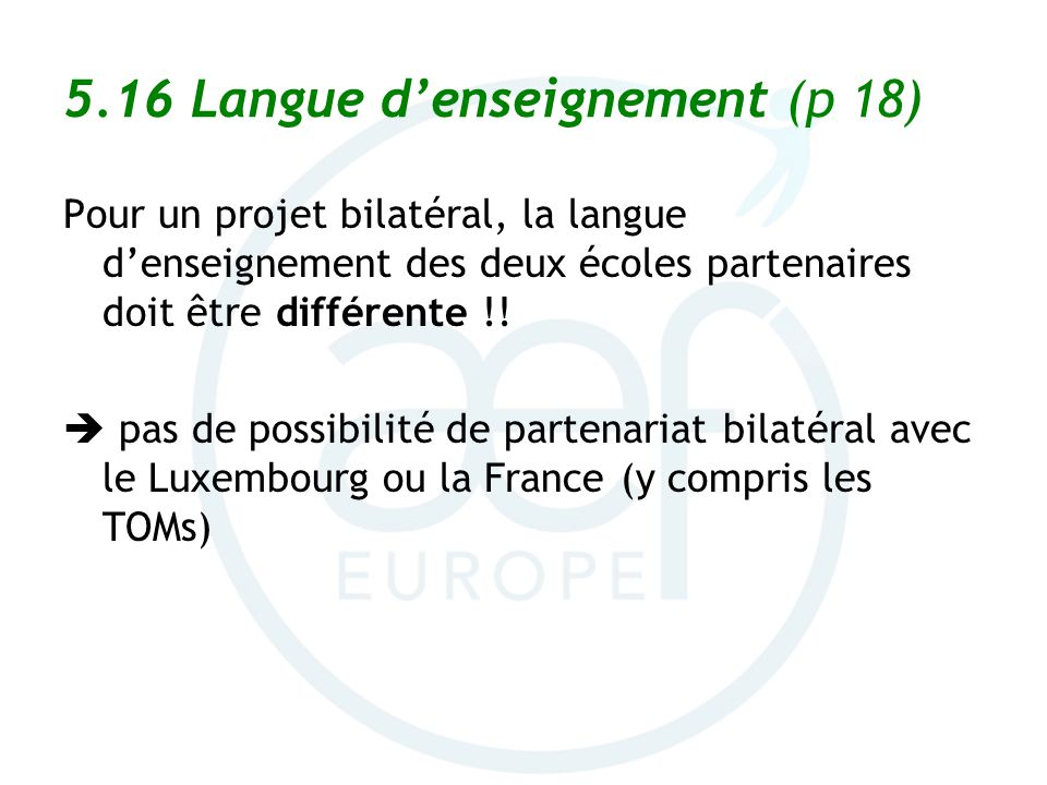 5.16 Langue d'enseignement (p 18)