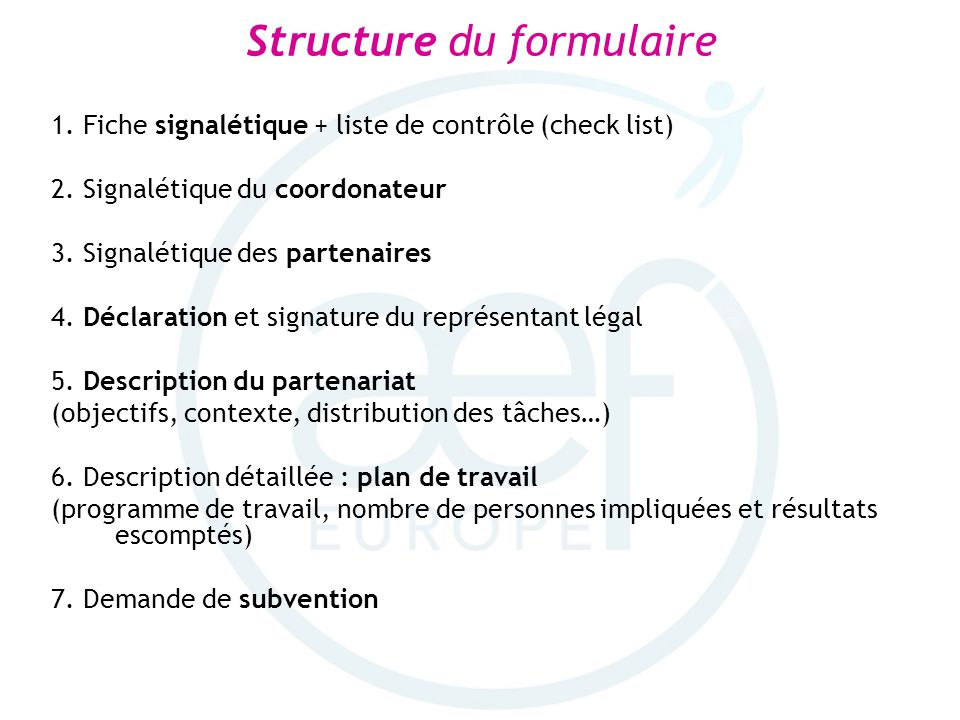 Structure du formulaire
