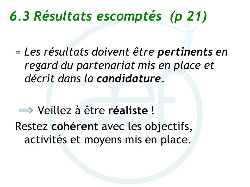 6.3 Résultats escomptés (p 21)