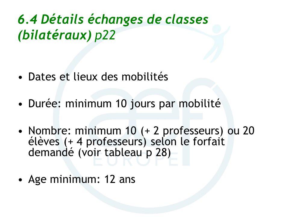 6.4 Détails échanges de classes (bilatéraux) p22