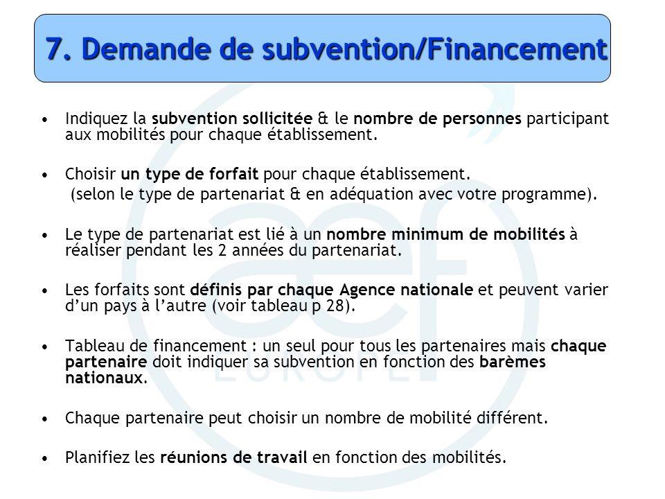 7. Demande de subvention/Financement