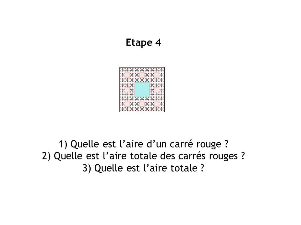 1) Quelle est l'aire d'un carré rouge
