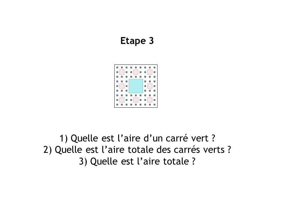 1) Quelle est l'aire d'un carré vert