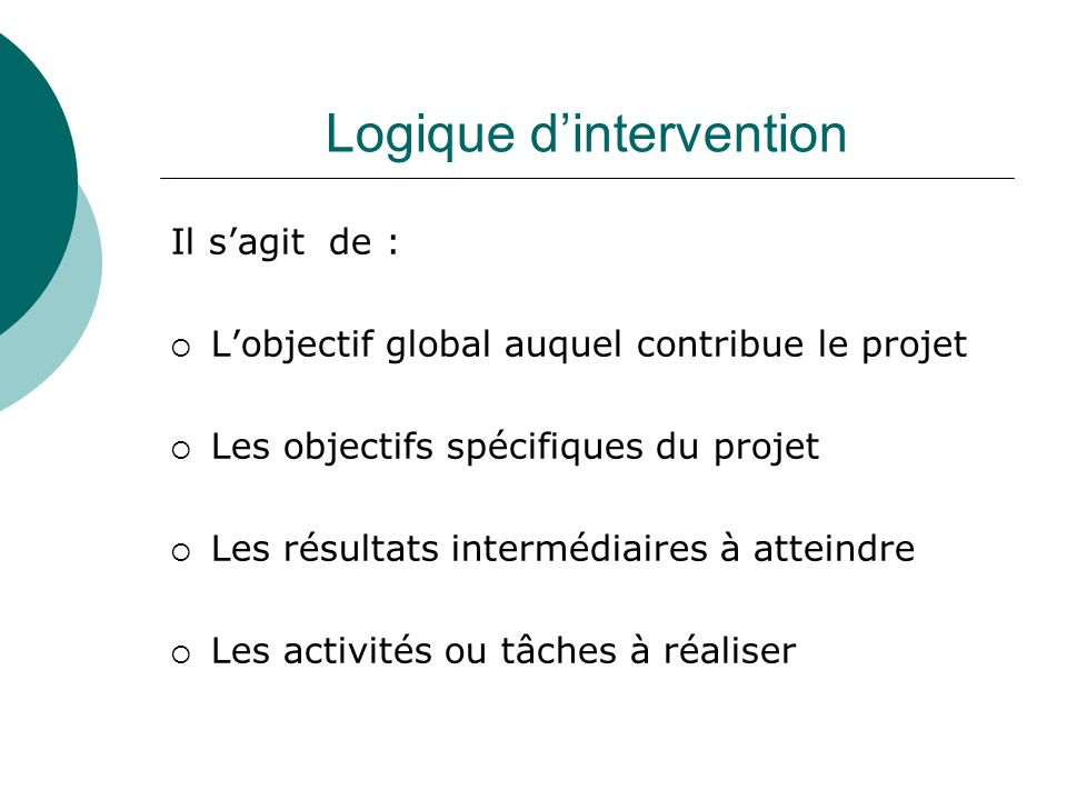 Logique d'intervention
