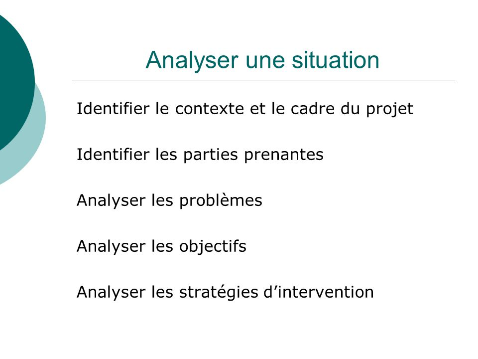 Analyser une situation