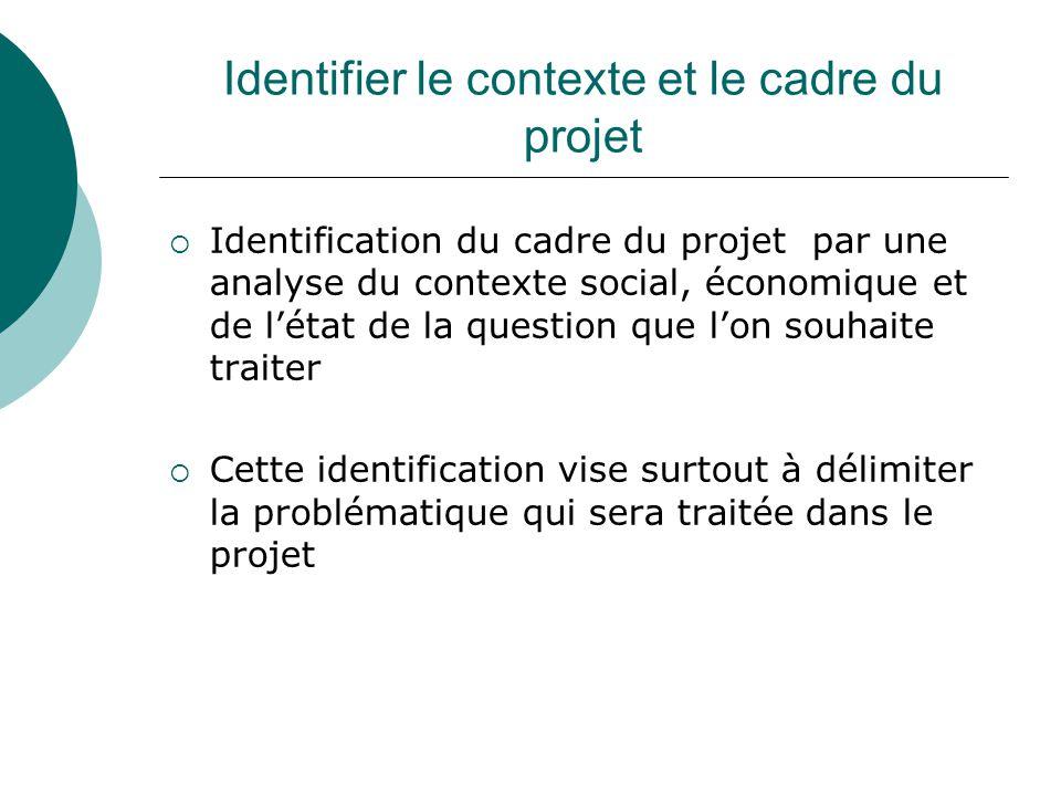 Identifier le contexte et le cadre du projet