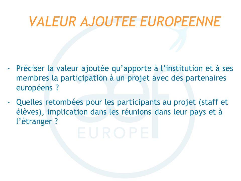 VALEUR AJOUTEE EUROPEENNE