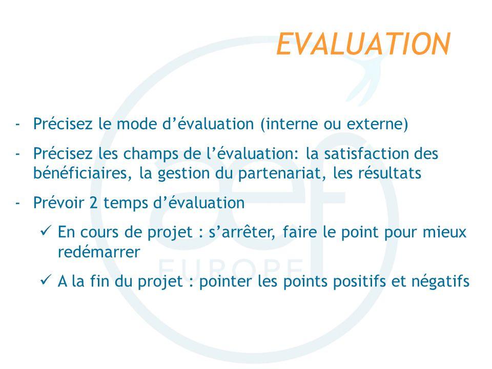 EVALUATION Précisez le mode d'évaluation (interne ou externe)