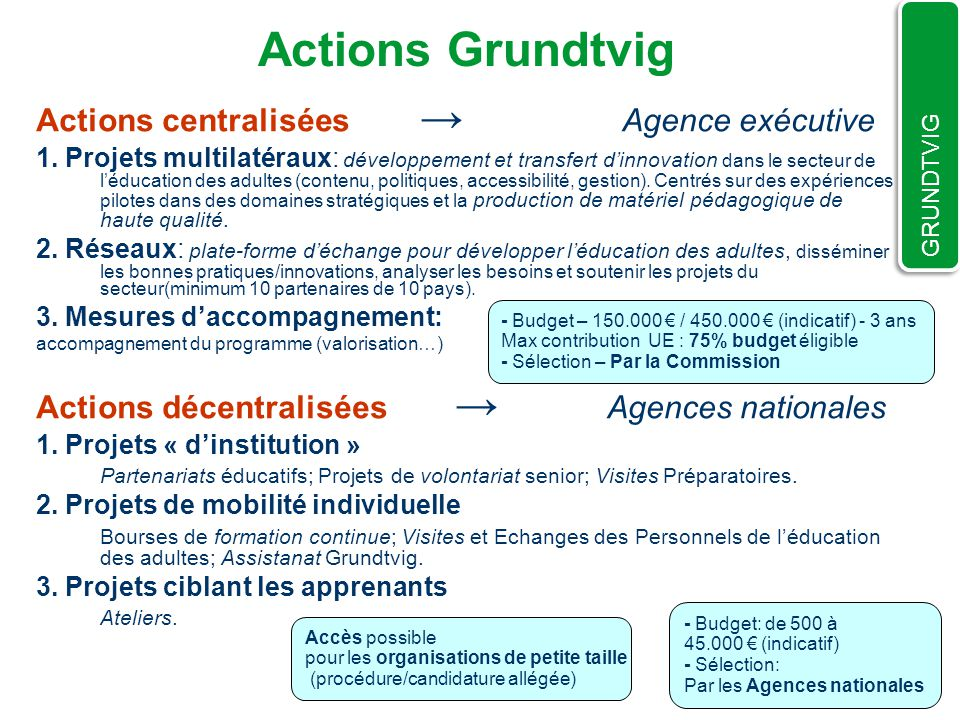 Actions Grundtvig Actions centralisées → Agence exécutive
