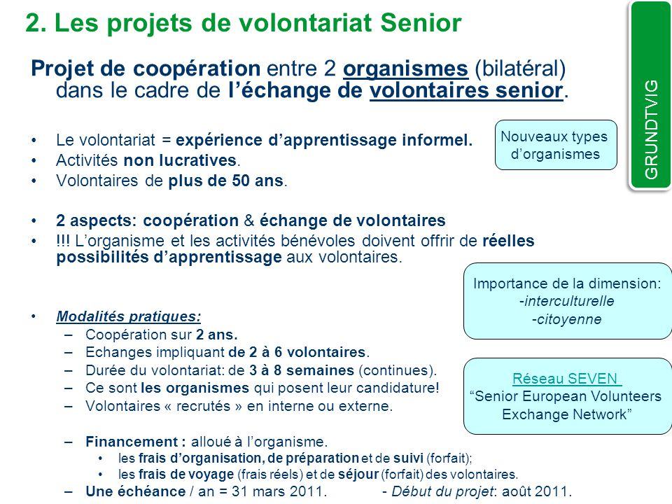2. Les projets de volontariat Senior