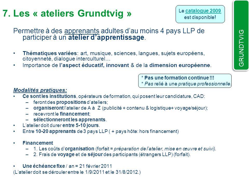 7. Les « ateliers Grundtvig »