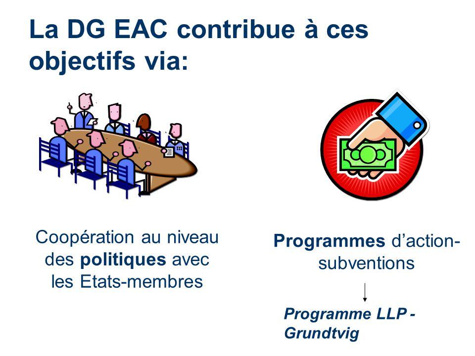 La DG EAC contribue à ces objectifs via: