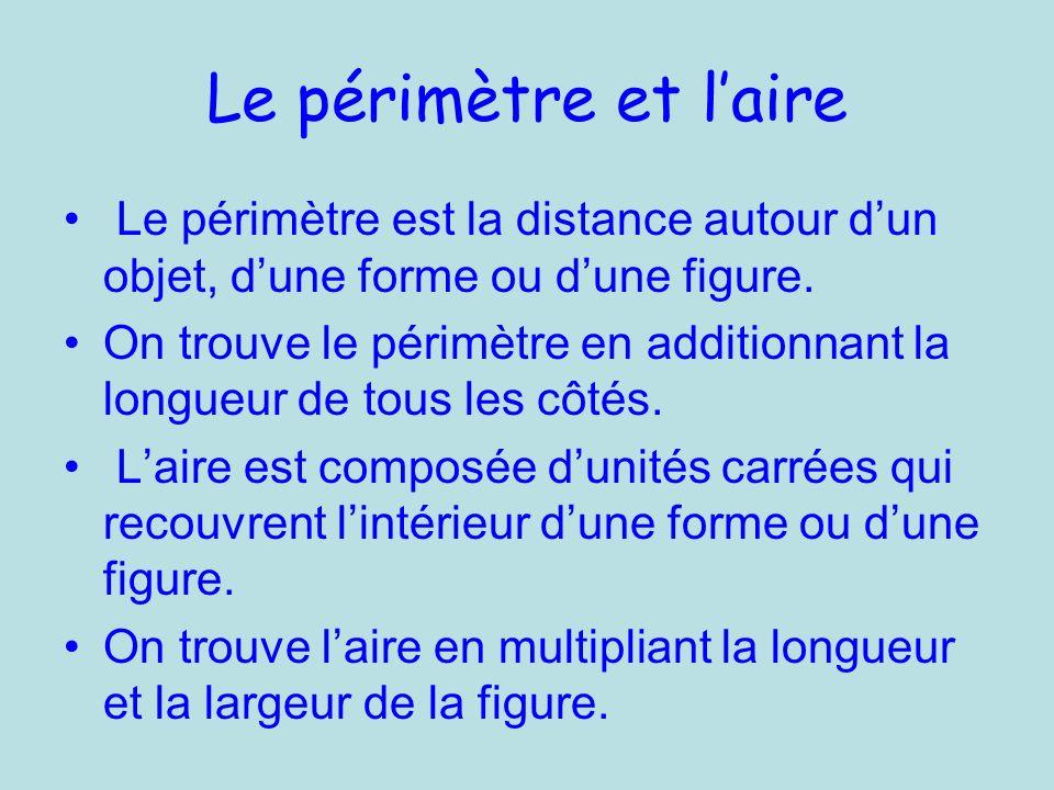 Le périmètre et l'aire Le périmètre est la distance autour d'un objet, d'une forme ou d'une figure.