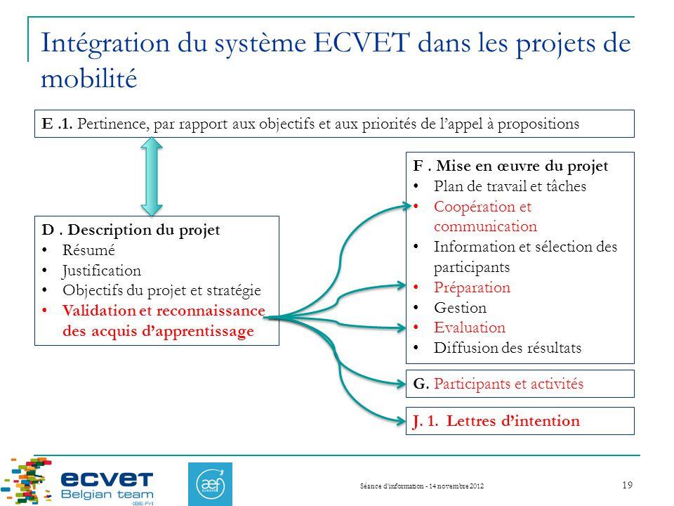 Intégration du système ECVET dans les projets de mobilité