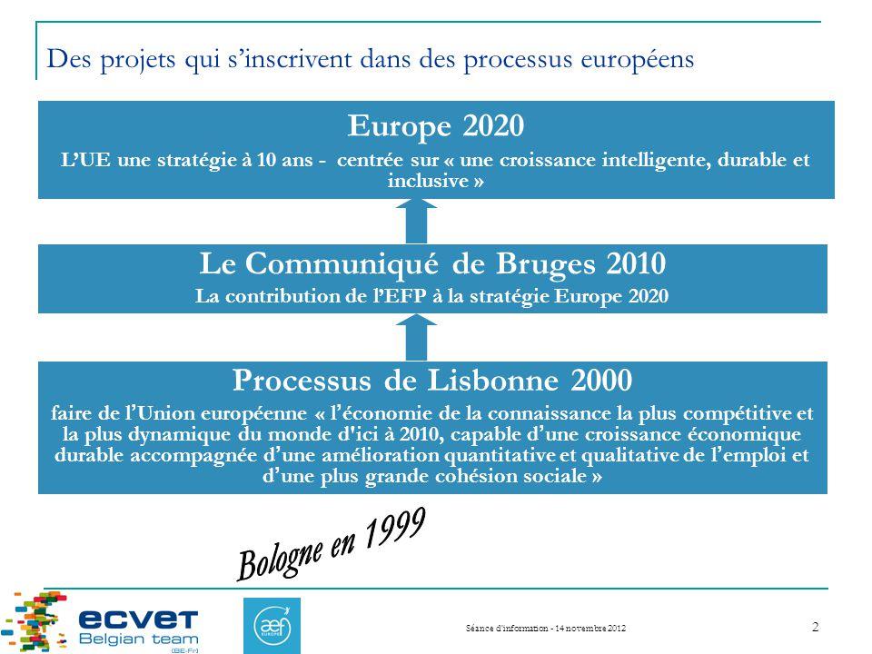 Europe 2020 Le Communiqué de Bruges 2010 Processus de Lisbonne 2000