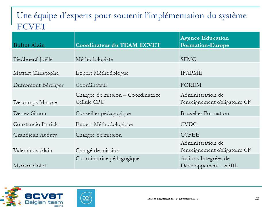 Une équipe d'experts pour soutenir l'implémentation du système ECVET