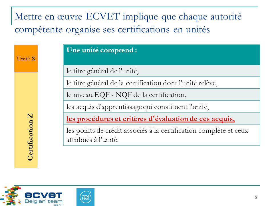 Mettre en œuvre ECVET implique que chaque autorité compétente organise ses certifications en unités
