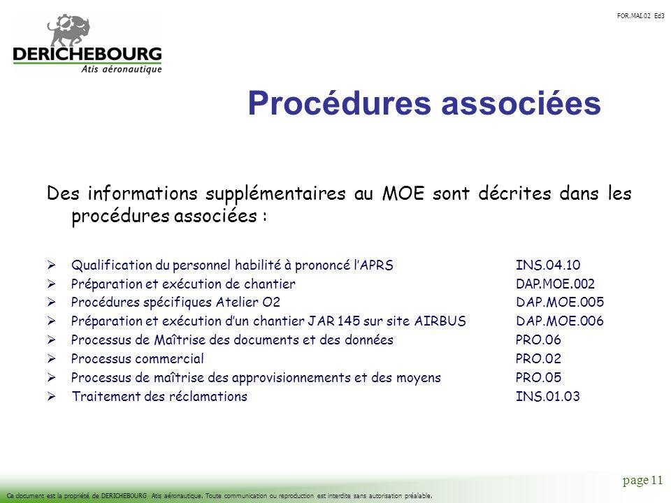 Procédures associées Des informations supplémentaires au MOE sont décrites dans les procédures associées :