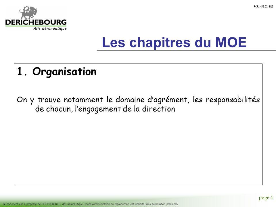 Les chapitres du MOE 1. Organisation