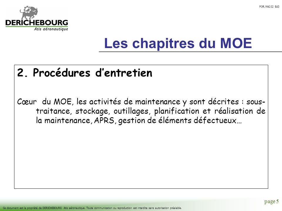 Les chapitres du MOE 2. Procédures d'entretien
