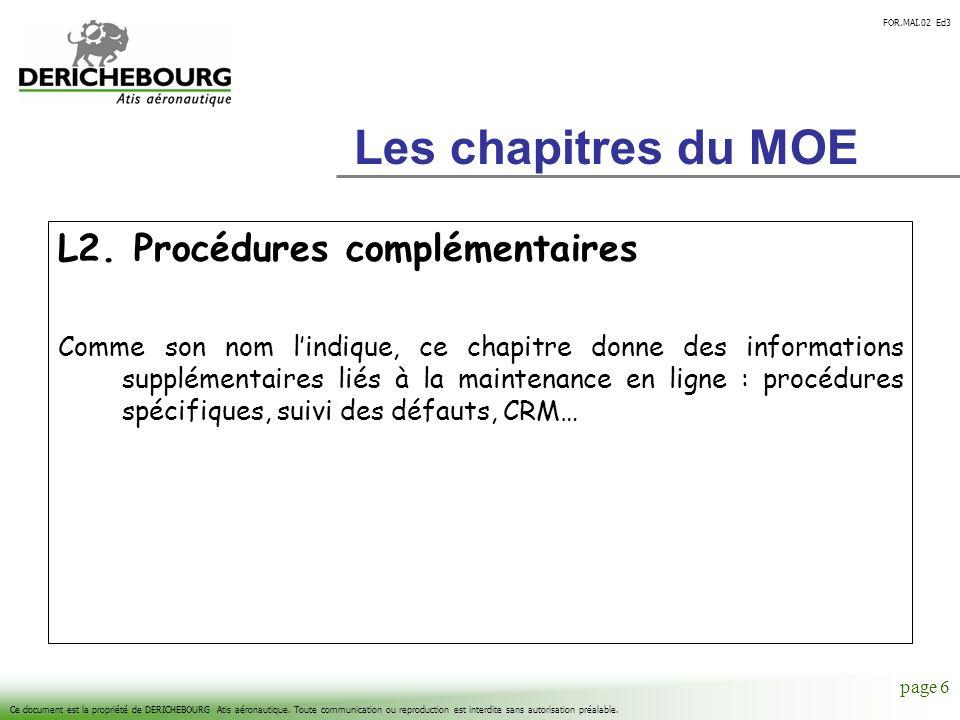 Les chapitres du MOE L2. Procédures complémentaires