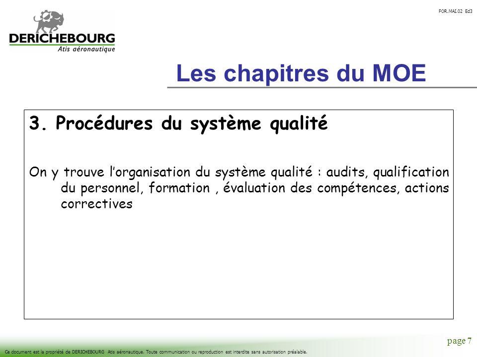 Les chapitres du MOE 3. Procédures du système qualité