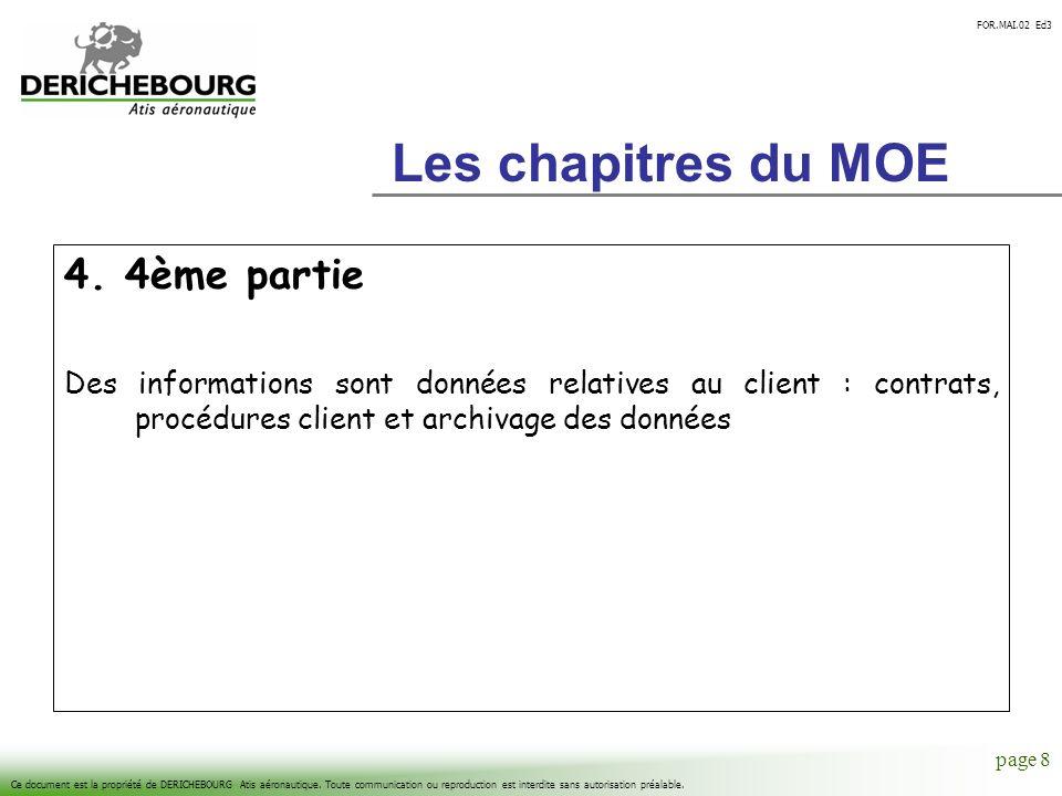 Les chapitres du MOE 4. 4ème partie