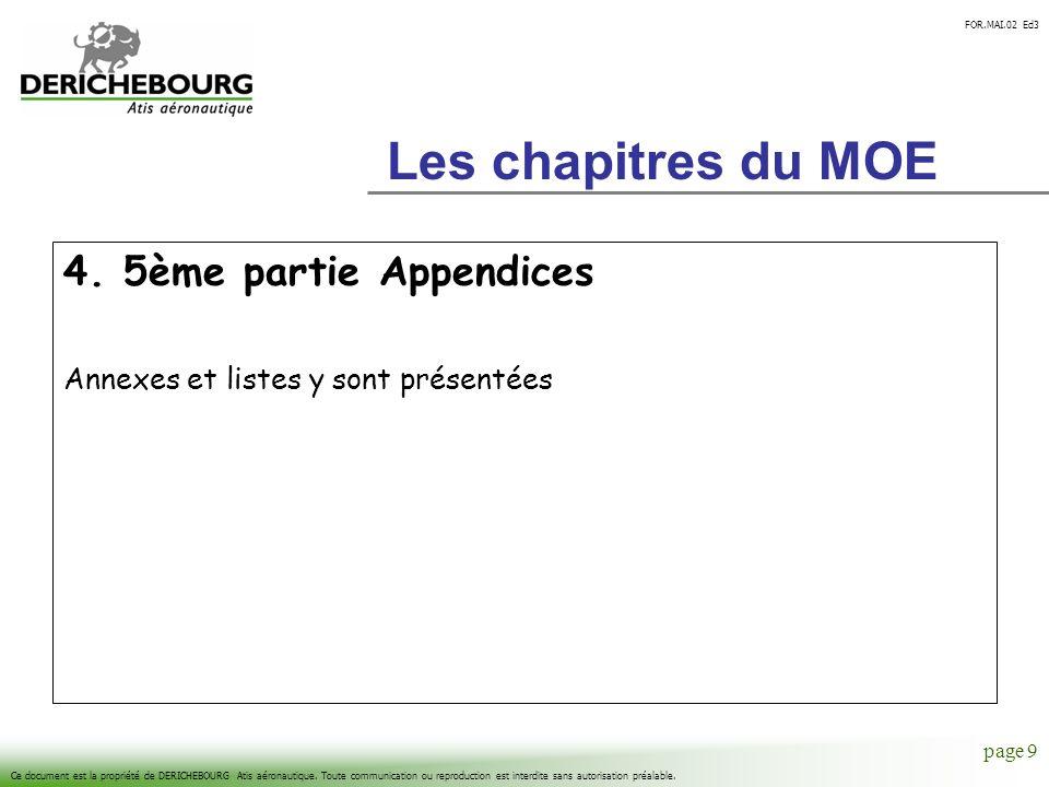 Les chapitres du MOE 4. 5ème partie Appendices