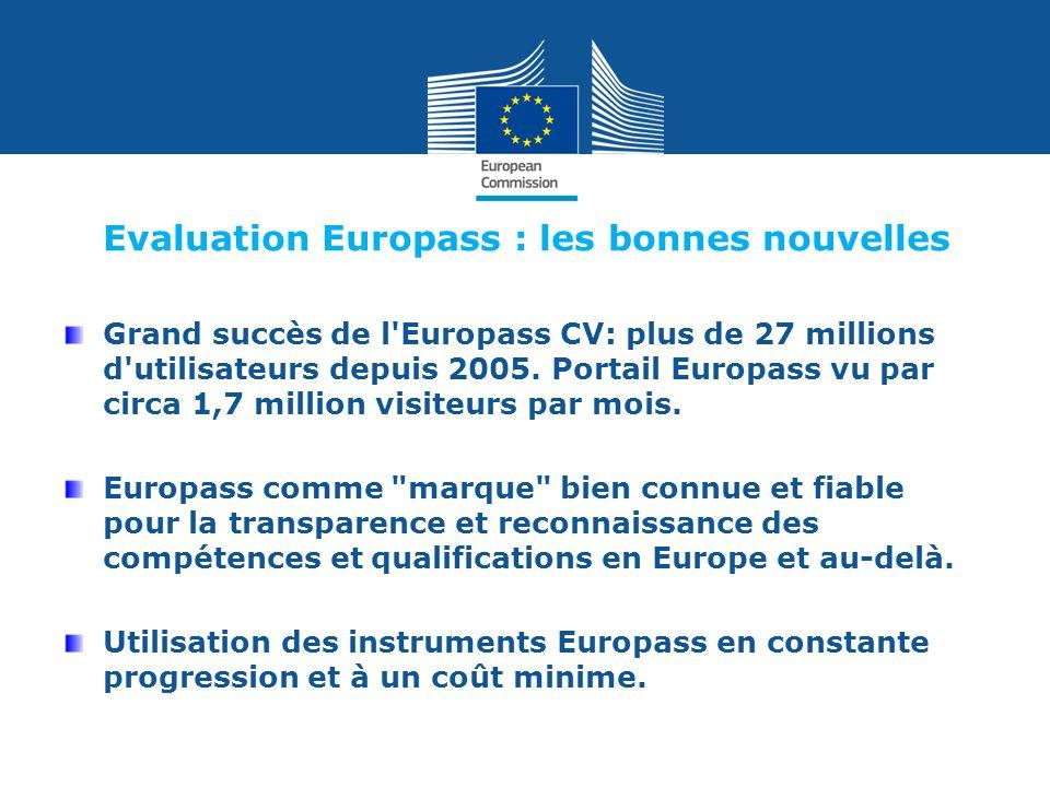 Evaluation Europass : les bonnes nouvelles